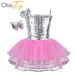 dcb6c1c66adc ChicTry Girls Spaghetti Straps Sequins Lyrical Jazz Stage Performance Dance  Costumes Kids Ballet Tutu Leotard Dress Hairclip Set