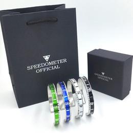 Mulheres Mens Pulseira De Luxo Pulseira Set Relógios Estilo Velocímetro Oficial Cuff Bracelet Pulseiras de aço Inoxidável com caixa de Varejo em Promoção