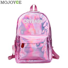 $enCountryForm.capitalKeyWord NZ - Mini Travel Bags Silver Blue Pink Laser Backpack Women Girls Bag Pu Leather Holographic Backpack School Bags For Teenage Girls