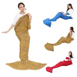 crochet mermaid tails Australia - New Mermaid Tail Fish Sofa Bed Warm Blanket Handmade Crocheted Knit Cashmere Yarn Knitted For TV Sofa Blanket