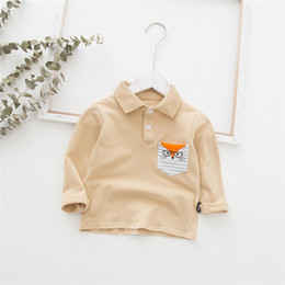 children polo Australia - New Arrivals INS Kids Boys Polo Tatting Cotton Long Sleeve Turn-down Collar Blank Front Buttons Fox Pockets Designs Children Polo Shirts