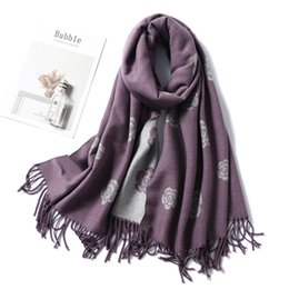 purple shawls scarves Canada - Two-sides Cashmere Scarves Women New Brand Winter Scarf High Quality Shawls And Wraps Floral Tassels Pashmina Echarpe Femme