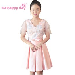 Party chiffon dresses for teens online shopping - teen pink bridesmaid robe bride maid dresses short girls satin knee length bridesmade party elegance dress for weddings