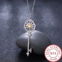 $enCountryForm.capitalKeyWord Australia - Real 925 sterling silver woman key shape necklace 2019 summer new European and American classic crystal zircon pendant