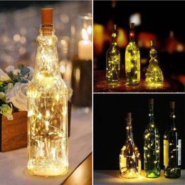 string light garland wholesale NZ - 2M 20 LEDS Wine Bottle Lights With Cork Garland Bottle Copper Wire Flexible Fairy String Lights for Christmas Wedding Party