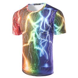 Colorful Tees Australia - New Arrival Men Colorful Lightning 3d Print T-shirt Fashion Pattern Men Short Sleeve T-shirt Men Top Tees High Quality T Shirt