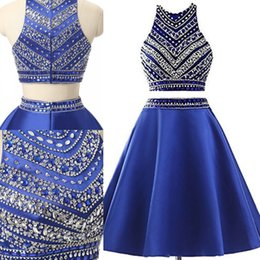 petal bead caps 2019 - Two Piece Short Royal Blue Homecoming Dresses Crystals Sequins Beads Satin Cocktail Party Prom Dresses Cheap Mini Girls