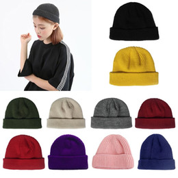$enCountryForm.capitalKeyWord NZ - Unisex Winter Ribbed Knitted Short Melon Cap Cuffed Solid Color Single Flanging Skullcap Baggy Retro Beanie Hat Slouchy Hip Hop