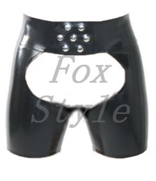 silver latex short Australia - Sexy latex shorts breeches for men in heavy 0.6 mm thickness