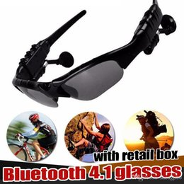 Iphone Hands Free Bluetooth Australia - Bluetooth Headset Sunglasses Earphone Hands-free Phone Call Ear Hook for iPhone Samsung Stylish appearance with Retail box Free shipping