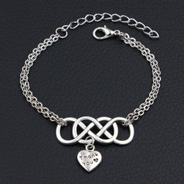 $enCountryForm.capitalKeyWord Australia - Silver Color Double Infinity Love Thank You Heart Pendants Bracelets & Bangles For Women Men Gifts Fashion Link Chain Jewelry Pulseras Mujer
