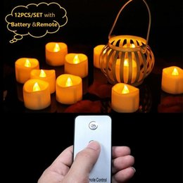 led candle votive UK - 12Pcs Battery Votive Candles With Remote,Remote Led Candles,Small Tea Lights,Party Candles,Electronic Candles Remote Y200531