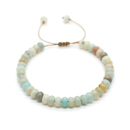 Cute stone braCelets online shopping - Cute Bear Natural Amazonite Stone Abacus Beads Bracelet Leather Rope Beaded Adjustable Bracelets For Women Couple Jewelry Gift
