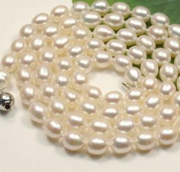 Genuine Cultured Black Pearls Australia - Necklace FREE shipping>>> >>>s058 Genuine 8-9mm White black oval Cultured freshwater pearl Necklace new