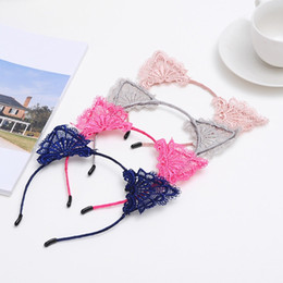 cute cat ears hair clip NZ - Fashion Lovely Headband With Ears Hair Accessories For Girls Cat Ear Hair Clips Lace Hair Band Cute Headwear Christmas Party Decor R0693