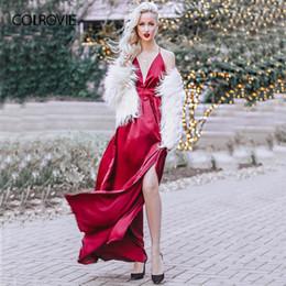 c9a612a6c20b COLROVIE High Slit Wrap Satin Maxi Dress Plunge Neck Cross Back Women Sexy  Draped Long Dresses Sleeveless A Line Slip Dress Y19042401