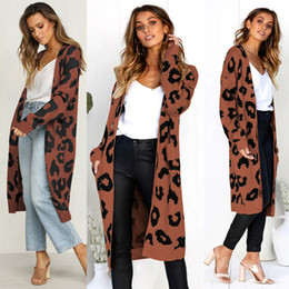 Wholesale long christmas cardigan sweater for sale - Group buy Christmas Women Knitted Cardigan Leopard Print Female Cardigans Long sleeve wool Long Cardigan Sweater coat outwear Sweatershirt LJJA3268