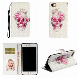 iphone 3d skull case NZ - 3D Skull Leather Wallet Case For Iphone 11 PRO Max XR XS X 8 7 6 SE Butterfly Flower Marble Pineapple Unicorn Card Slot Holder Cover Strap