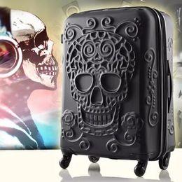 24 Inch Bag Australia - Women Fashion 20 Inch Spinner Wheel 3D skull Travel bag students 24 Trolley Suitcase Men 28 inch brand hardside Rolling luggage
