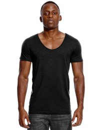 Fitted V Neck T Shirts Australia - Scoop Neck T Shirt for Men Low Cut Deep V Neck Wide Vee Tee Male Tshirt Invisible Undershirt Slim Fit Short Sleeve