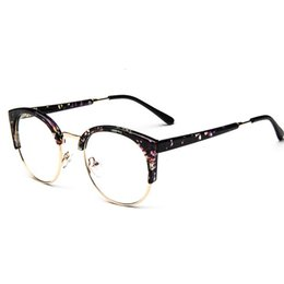 China 2019 Hot Fashion Cat Eye Half Frame Metal Anti-Radiation Goggles Plain Glass Spectacles 10 colors cheap floral framed glasses suppliers