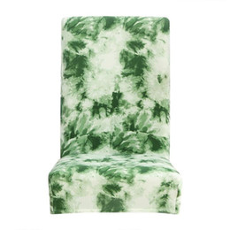 Home Office Chair Australia - Removable Chair Cover Seat Slipcover Graffiti Pattern Stretch Dark Green Office Home Elastic Chair Cover Wedding Banquet Decor