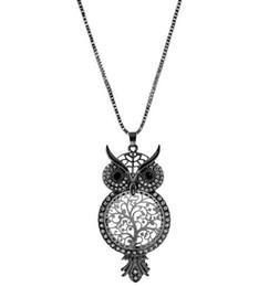 08f0730be135 Cadena de suéter de cristal colar collier Búho Lindo Ahueca Hacia Fuera el Collar  Colgante Mujer Árbol de la Vida Collares Joyería de las mujeres