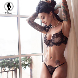 ba08af9ef84d8c ALINRY sexy bra set lace transparent push up women lingerie bralette  seamless thong panties wire free thin underwear lenceria D19011604