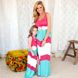 Mom Child Clothes NZ - Family Matching Mother Daughter Dresses Girl Mother Dress And Me Clothes Clothes Striped Mom Dress Kids Child Outfits