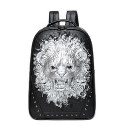 High Quality Backpack Brands Australia - wholesale brand personality 3D stereo package of high quality leather backpack punk man Lion Travel Backpack stereo lion cool schoolbag