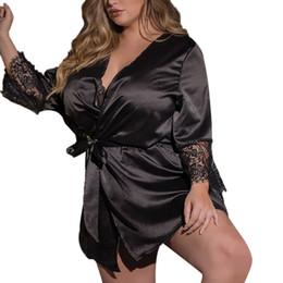 bf8aa328f602 MUQGEW camisón de talla grande albornoz mujer Mujeres Sexy Kimono de Seda  Bata Babydoll Encaje Lencería Bata de Baño Ropa de Dormir # Y3