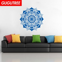 nature flowers wallpapers UK - Decorate Home India Buddhism mandala flower art wall sticker decoration Decals mural painting Removable Decor Wallpaper G-1088