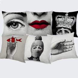$enCountryForm.capitalKeyWord Australia - Fornasetti Famous Painting Cushion Cover Girl Face Eye Sexy Lip Hand Linen Pillow Cover 45X45cm Bedroom Sofa Chair Decoration