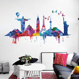 $enCountryForm.capitalKeyWord Australia - Large Famous Landmark Wall Sticker PVC Watercolor Building Self-adhesive Wall Decal for Living Room Bedroom Decoration