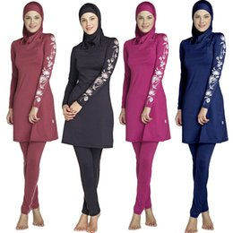 25c700d4dc Women Sleeve Printed Floral Muslim Swimwear Hijab Muslimah Islamic Swimsuit  Swim Surf Wear Sport 3 in 1 Full Cover Plus Size S-5XL DK742MZ