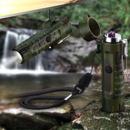$enCountryForm.capitalKeyWord Australia - Flashlight USB plasma lighter Electronic Cigarette lighter Camouflage Lighter Waterproof windproof electric double arc For man Camping