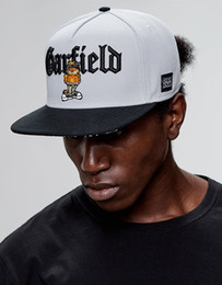 Fashion cartoon images online shopping - 2019 new fashion cartoon Garfield black classic hat summer new temperament image big plus high quality hat simple hat