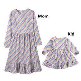 stripe clothes mom UK - Mother daughter hexagram stripe dresses family clothing long sleeve ruffles dress baby mom clothes robes wedding party dress