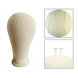 Chinese  21'' 22'' 23'' 24'' 25'' Canvas Block Head For Wig Stand and Display Styling Hair Extension For Lace Making Wigs Mannequin Head manufacturers