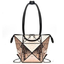 Fashion Folded Women Handbags Pu Leather Bag Famous Designer 2019 Drops Of  Water Geometric Shoulder Bag Women Diamond Tote Bags ae6a4228e2e9a