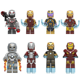 mini men figures NZ - 8 pcs Lot Avengers Super Hero Iron Man Tony Stark Thanos War Machine Mark 5 Mini Action Figure Building Blocks Toy For Children