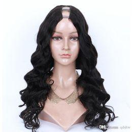 $enCountryForm.capitalKeyWord UK - U Part Human Hair Wigs Pre Plucked Body Wave Virgin Peruvian Hair Glueless Unprocessed Virgin Hair Body Wave Upart Wig Bleached Knots