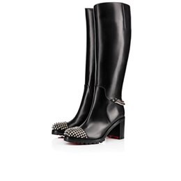 genuine leather over knee boots Australia - Women's Winter Boots Over-Knee Boot Shoes Red Bottom Spiked Toe Napaleon Black Genuine Leather High Heels Boots Discount
