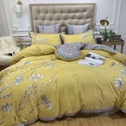 $enCountryForm.capitalKeyWord Australia - Yellow jacquard luxury bedding set queen king size stain bed set 45 6 7pcs cotton silk lace duvet cover sets sheet home textile