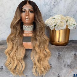 blonde wavy human hair wigs Canada - Ombre Honey Blonde Wavy Brazilian Remy Human Hair Full Lace Wigs with preplucked Hairline 180Density Lace Front Human Hair Wigs