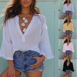 $enCountryForm.capitalKeyWord Australia - New Style Fashion Sexy T-shirts Female Casual Tops Womens V Neck Loose Plain Shirt Ladies Batwing Solid Summer Tops Tee Femme