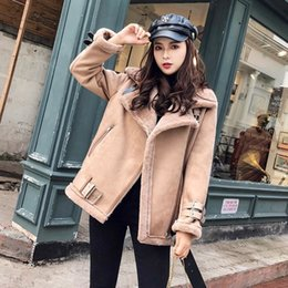 motorcycle jacket liners Canada - Women 2020 Fall Winter Suede Jacket Fur Coat Female Loose Thick Warm Faux Lambs Wool Overcoats Sheepskin Motorcycle Outwear H111 DT191029