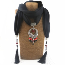 scarf necklaces for women Canada - Fashion National Wind Alloy Pisces Pendant Scarf Necklace For Women New Buddha beads Tassel Scarves Jewelry