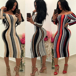 Wholesale sexy girls tight dresses resale online – Women Girls Fashion Slash Neck Full Sleeve Hip Tight Sexy Slim Dress Autumn New Slim Bodycon Women Nightclub Dress