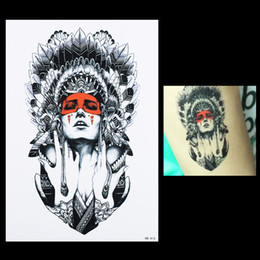 Wholesale Products For Girls Australia - 1pcs Fake Body Back Art Decal Tattoo for Women Men HB414 Sexy Product Beauty Indian Feather Girl Design Temporary Tattoo Sticker